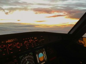 USAirways Airbus gorgeous sunset contrail airline aviation airplane pilot