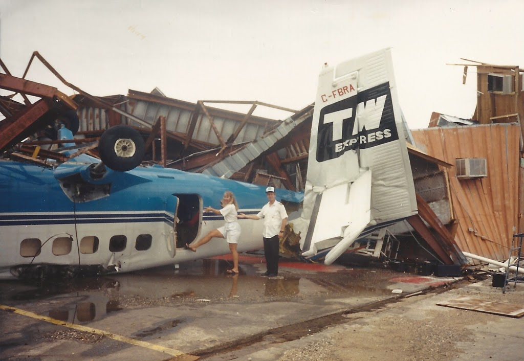 Cap'n Aux and his Twin Otter, totaled by Hurricane Hugo