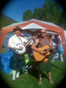 telluride bluegrass festival, banjo, guitar, kilt, capnaux, cap'n aux