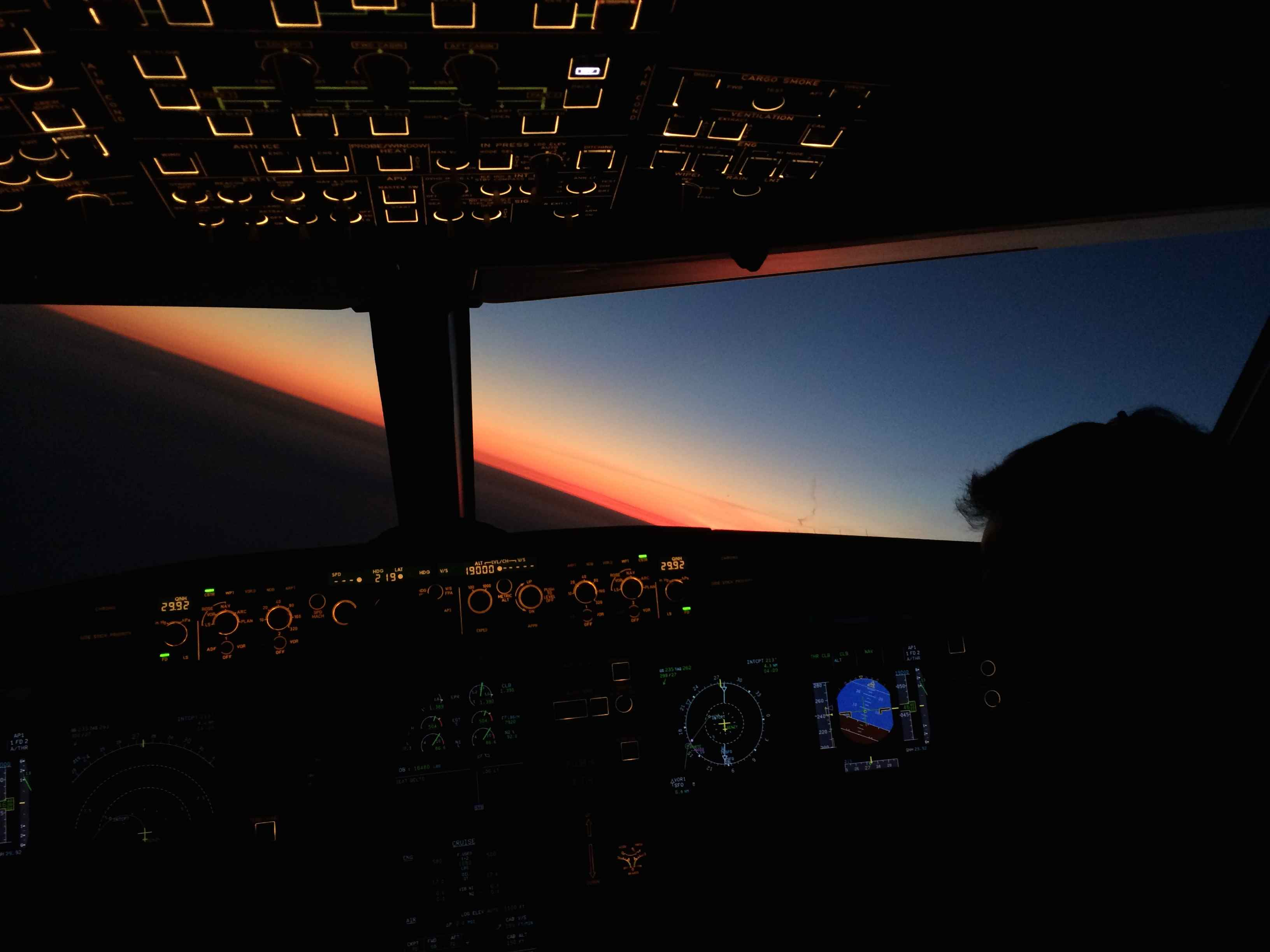 Climbing out of KSFO into a gorgeous sunset.