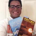 Jacob W and his precious books!