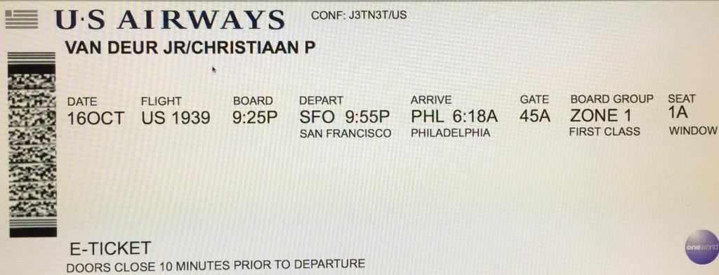 USAirways Flight 1939 Boarding Pass