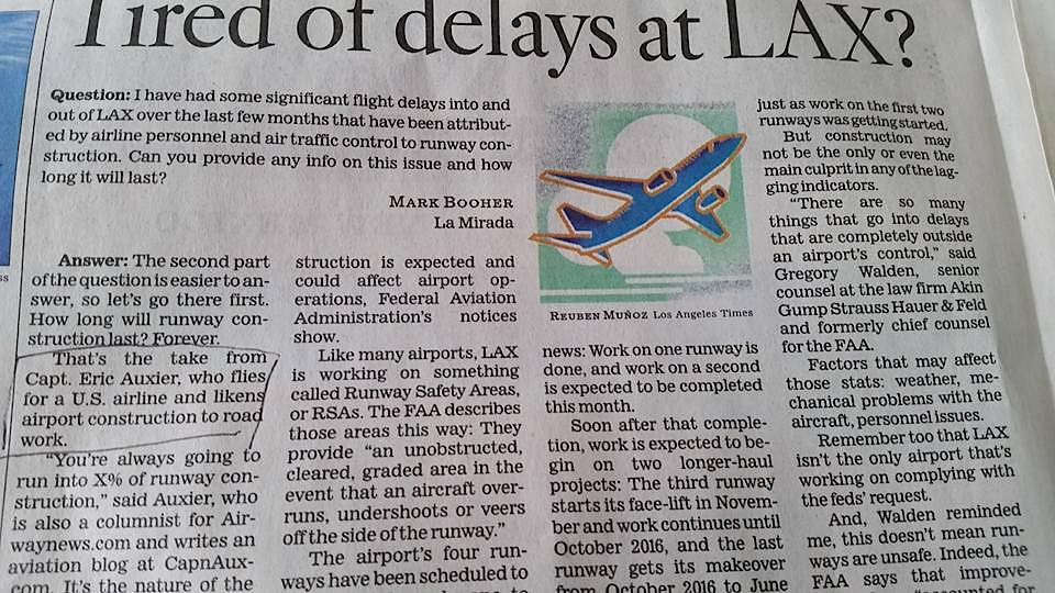 LAX Runway delays Los Angeles Times Article
