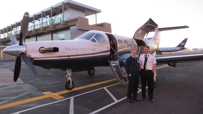 Cap'n Chad (R) and First Officer Joshua, the intrepid crew of Boutique Air,  and their trusty steed, the PC-12 Pilatus!