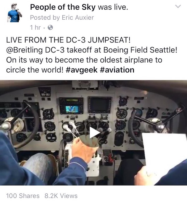Facebook Post Live broadcast Jumpseating on the Breitling Round the World DC-3 Part 3!